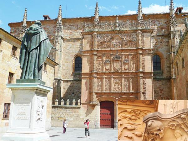 Fachada de la Universidad de Salamanca, donde se encuentra la famosa Rana, otra de las cosas que ver en salamanca.